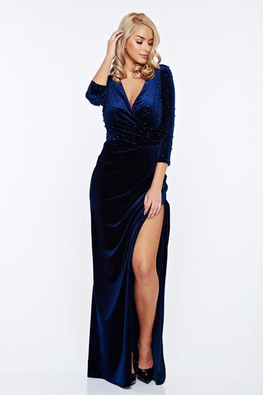 Artista darkblue occasional wrap around dress from velvet with small beads embellished details