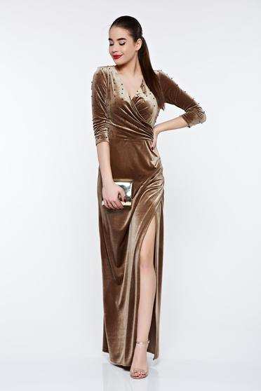 Artista brown occasional wrap around dress from velvet with small beads embellished details