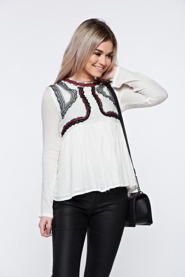 Top Secret white women`s blouse casual embroidered flared