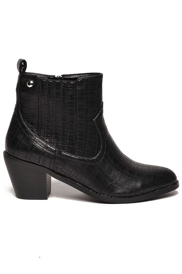 Top Secret black ankle boots from ecological leather chunky heel