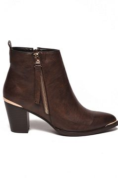 Top Secret brown ankle boots from ecological leather metallic details