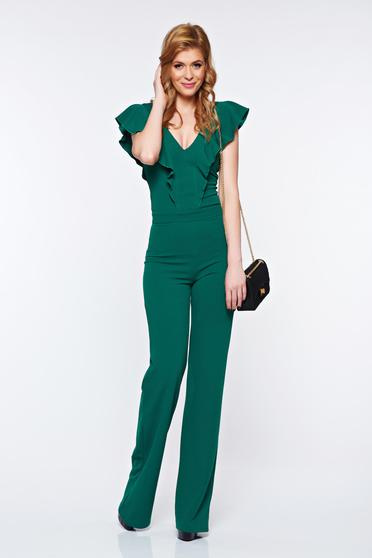 Fofy green elegant jumpsuit with ruffles on the chest with v-neckline