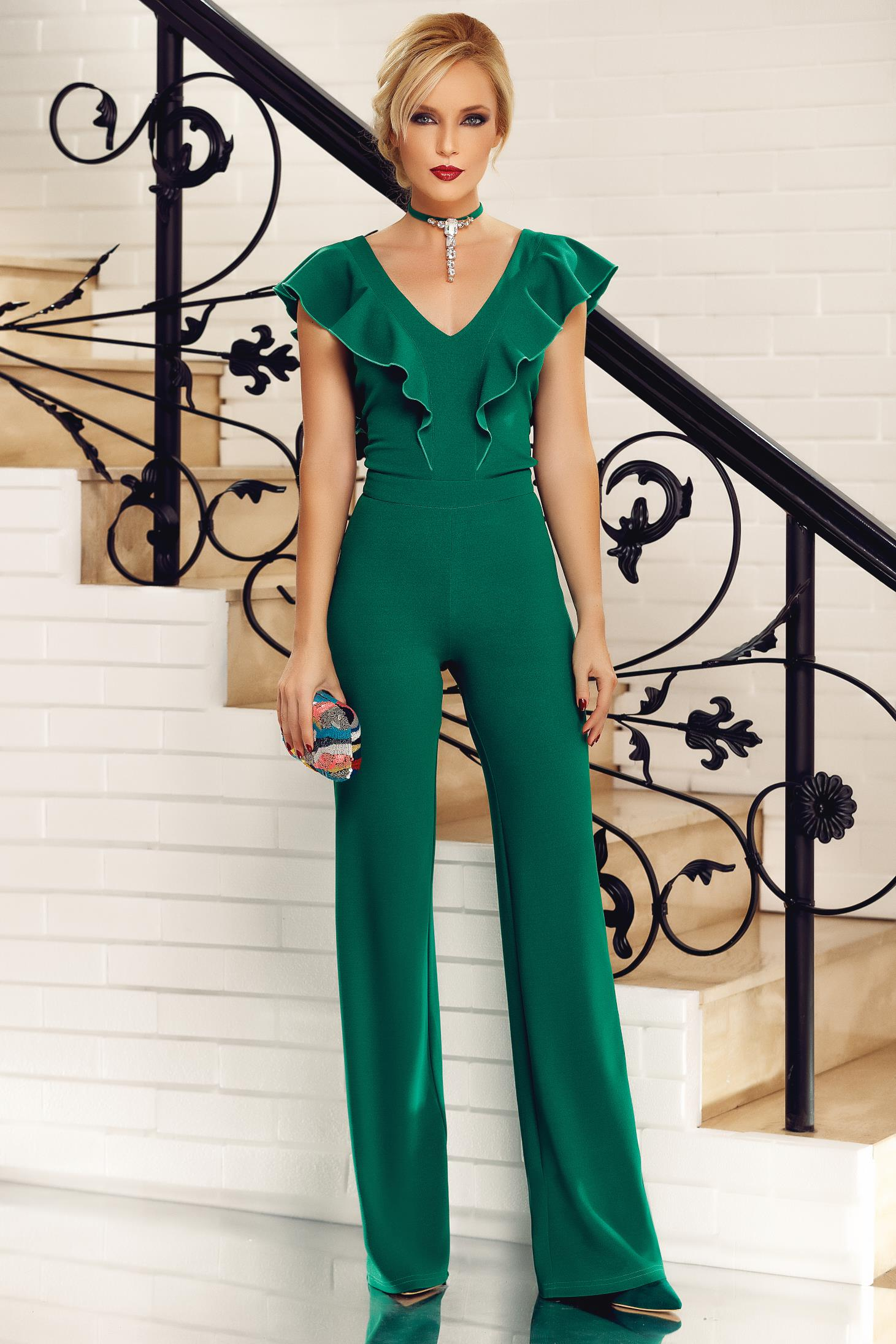 prezentarea Ordin mereu popular Salopeta Fofy verde eleganta din material usor elastic cu decolteu ...