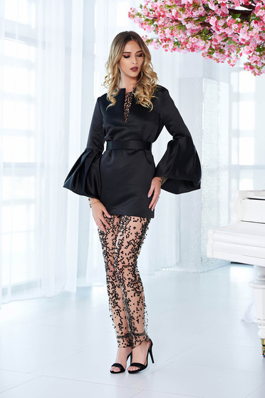 Ana Radu occasional from satin black set with bell sleeve
