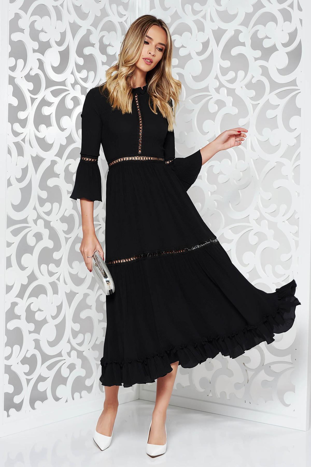 Rochie Ana Radu neagra de lux midi din material usor elastic plisat cu maneci clopot