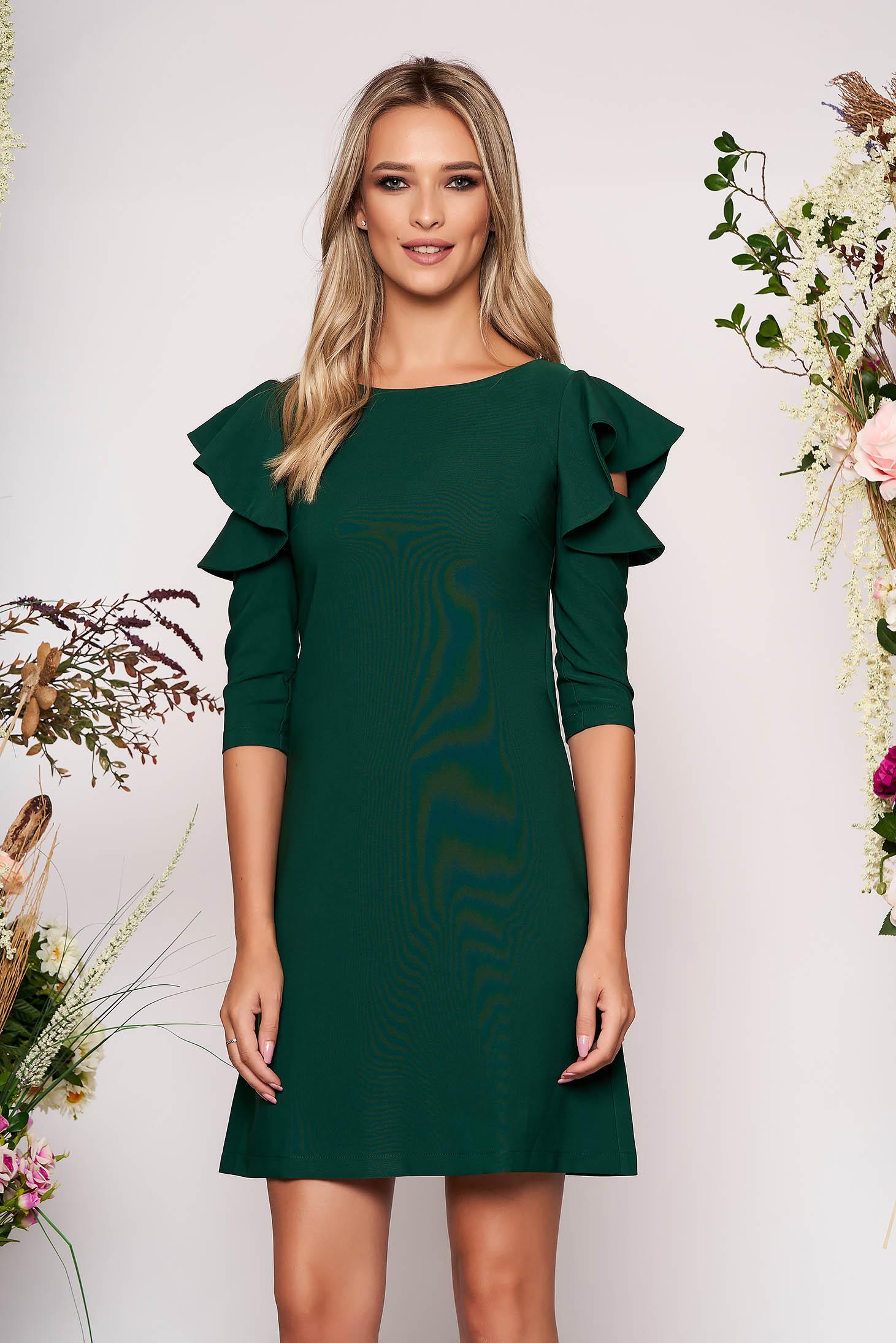 Darkgreen daily elegant a-line dress slightly elastic fabric with ruffled sleeves