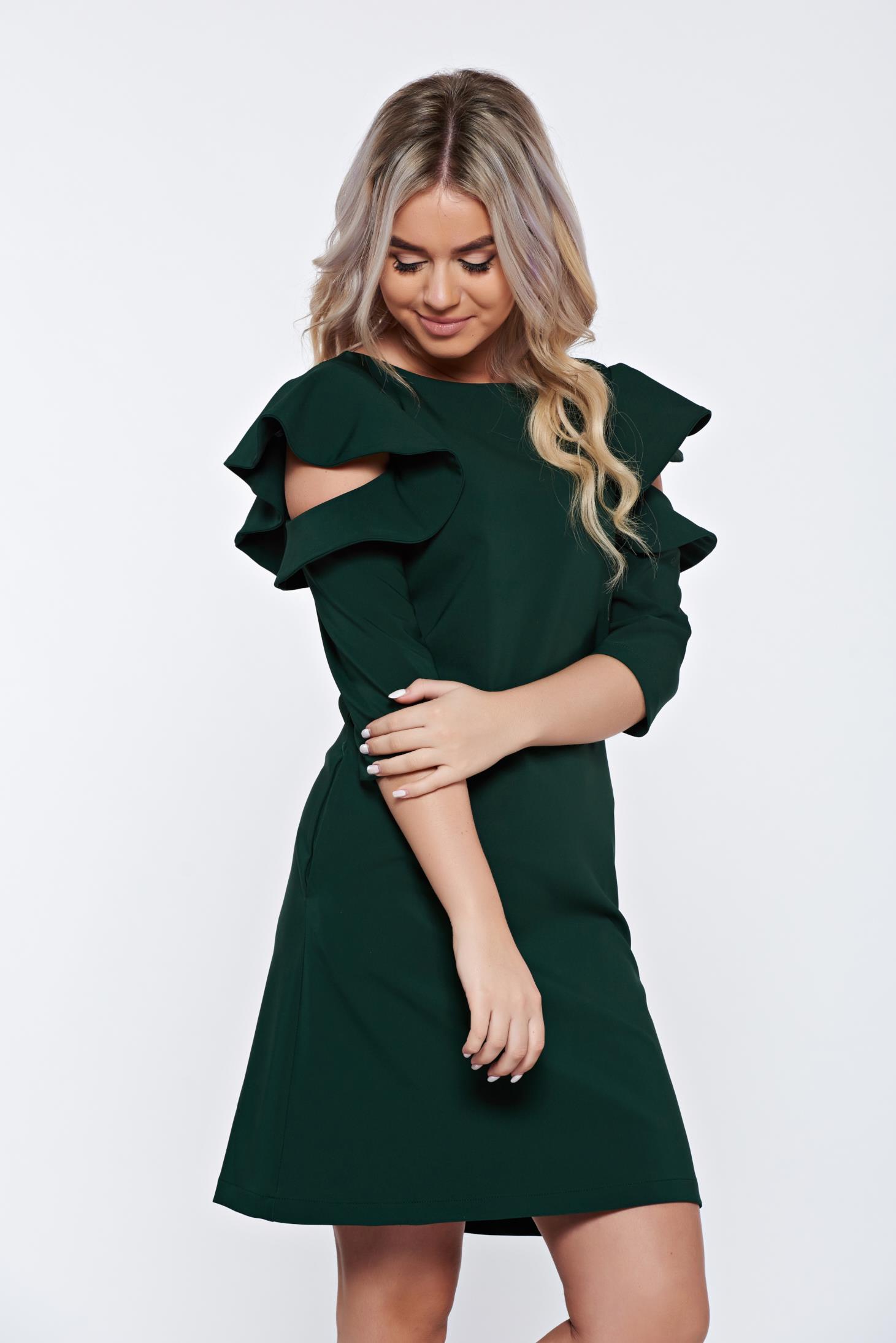 Rochie LaDonna verde-inchis cu croi larg din stofa usor elastica cu volanase la maneca