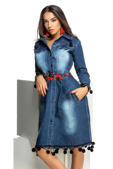 Ocassion blue casual cloche embroidered denim trenchcoat