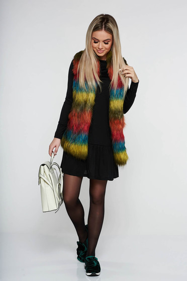 PrettyGirl blue casual gilet from ecological fur