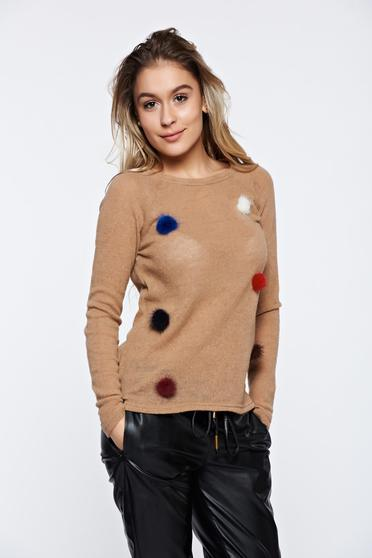 PrettyGirl cream casual knitted sweater with faux fur details