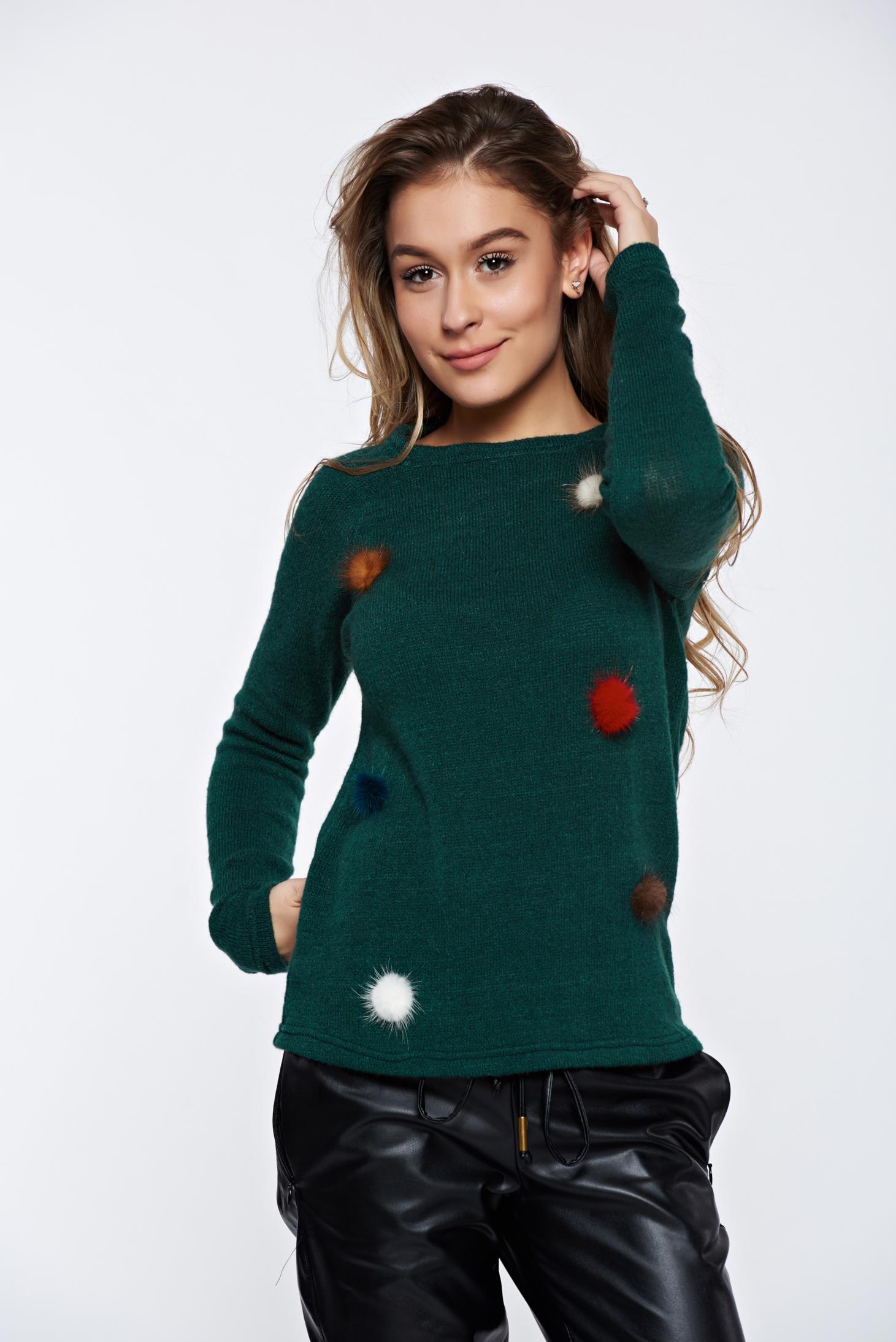 Sötétzöld PrettyGirl hétköznapi kötött pulóver műszőrme berakások dfb41800bc