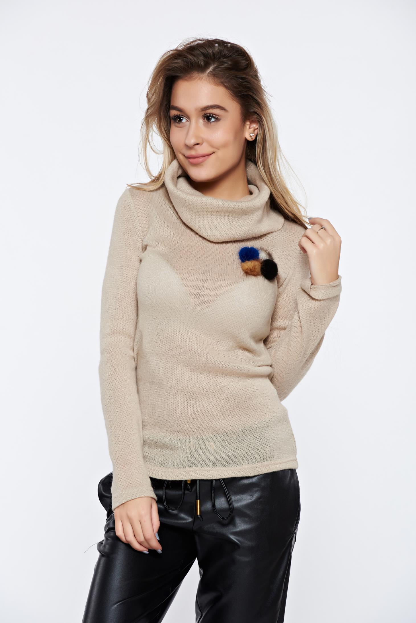 549c1ae3ae Krém PrettyGirl hétköznapi kötött magasnyakú pulóver