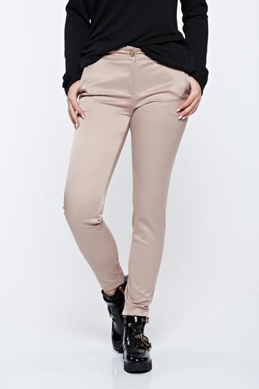 PrettyGirl cream office conical cotton trousers with medium waist