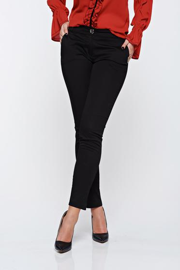 PrettyGirl black office conical cotton trousers with medium waist
