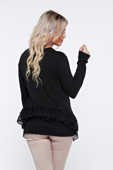 PrettyGirl black casual flared women`s blouse with lace details
