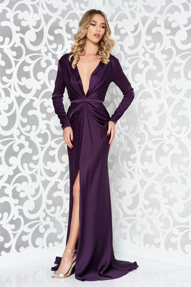 Ana Radu purple occasional long sleeved dress accessorized with tied waistband