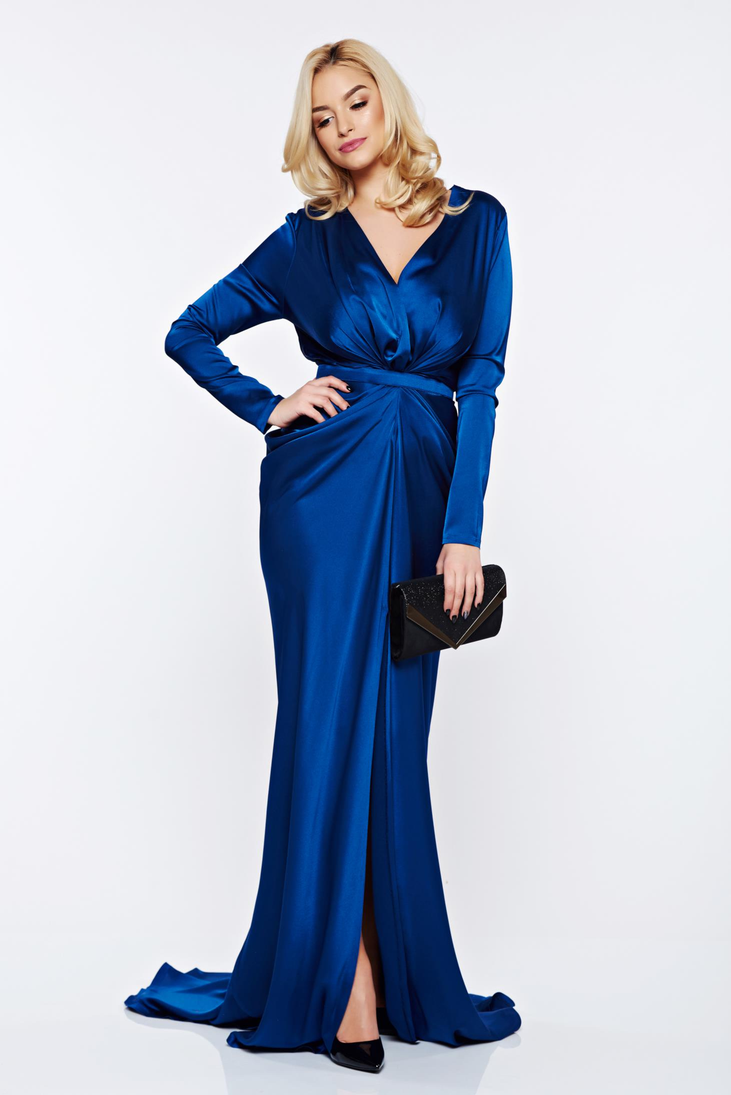 Ana Radu darkblue occasional long sleeved dress accessorized with tied waistband
