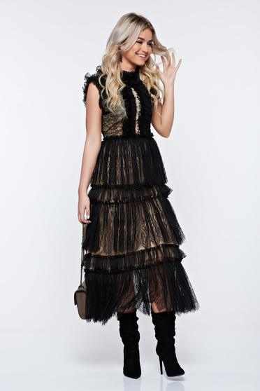 Ana Radu black occasional cloche laced dress from wrinkled fabric