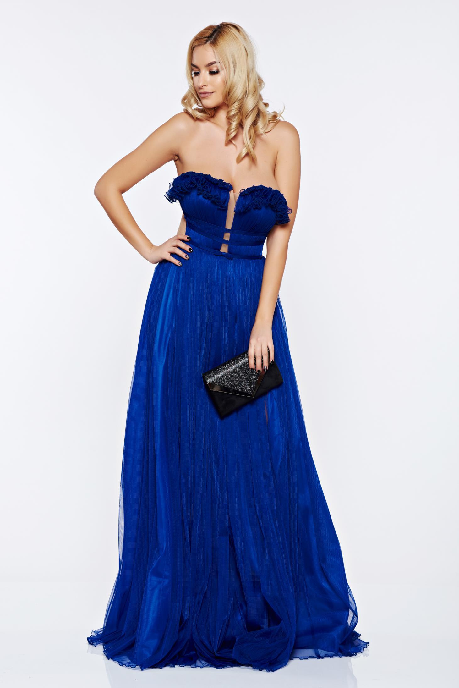 6a96c11456 Kék Ana Radu hosszú alkalmi ruha szivacsos mellrész