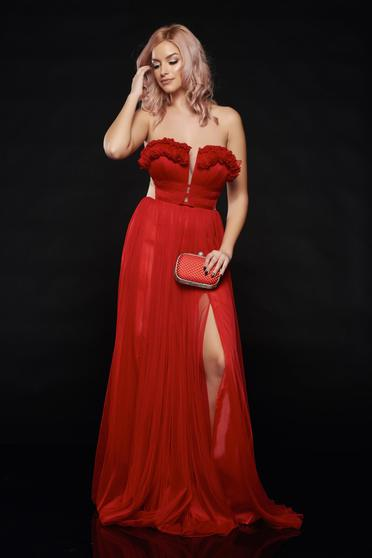 Ana Radu red occasional long dress with push-up cups