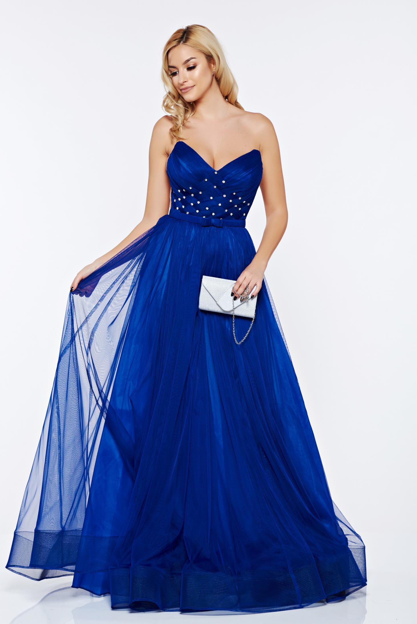 Rochie Ana Radu albastra de lux tip corset din tul captusita pe interior cu pietre strass de ocazie