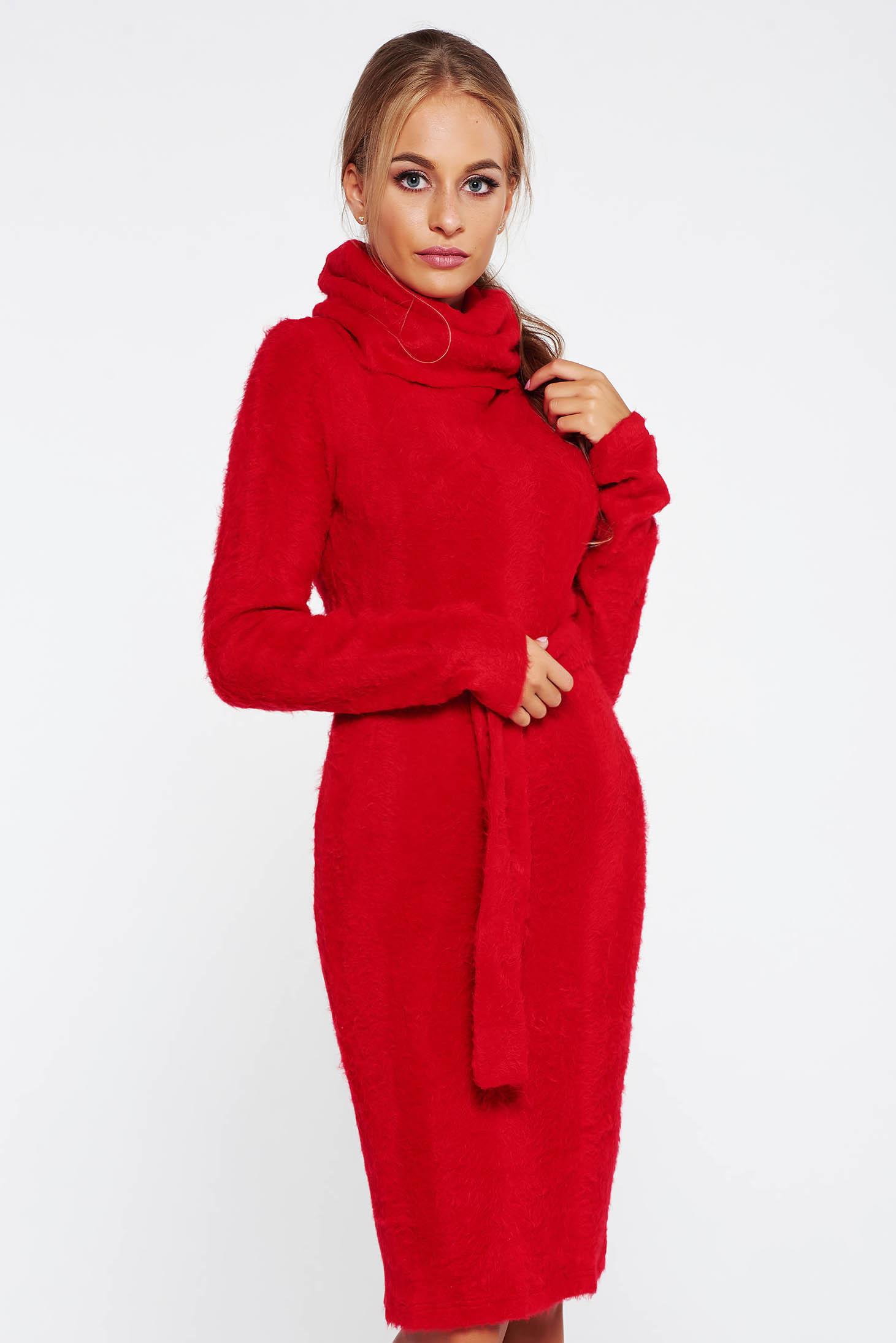 ad2fba2605 Piros PrettyGirl magasnyakú hétköznapi kötött ruha puffos anyag