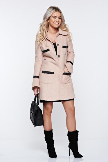 LaDonna elegant straight with round collar with bow accessories rosa coat from wool