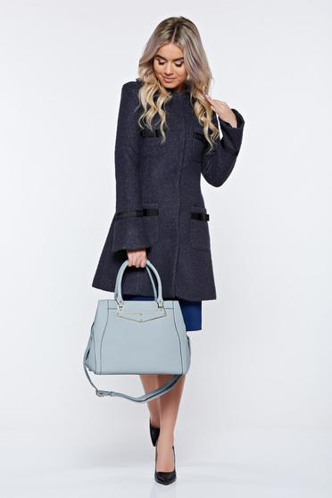 LaDonna elegant straight with round collar with bow accessories darkgrey coat from wool