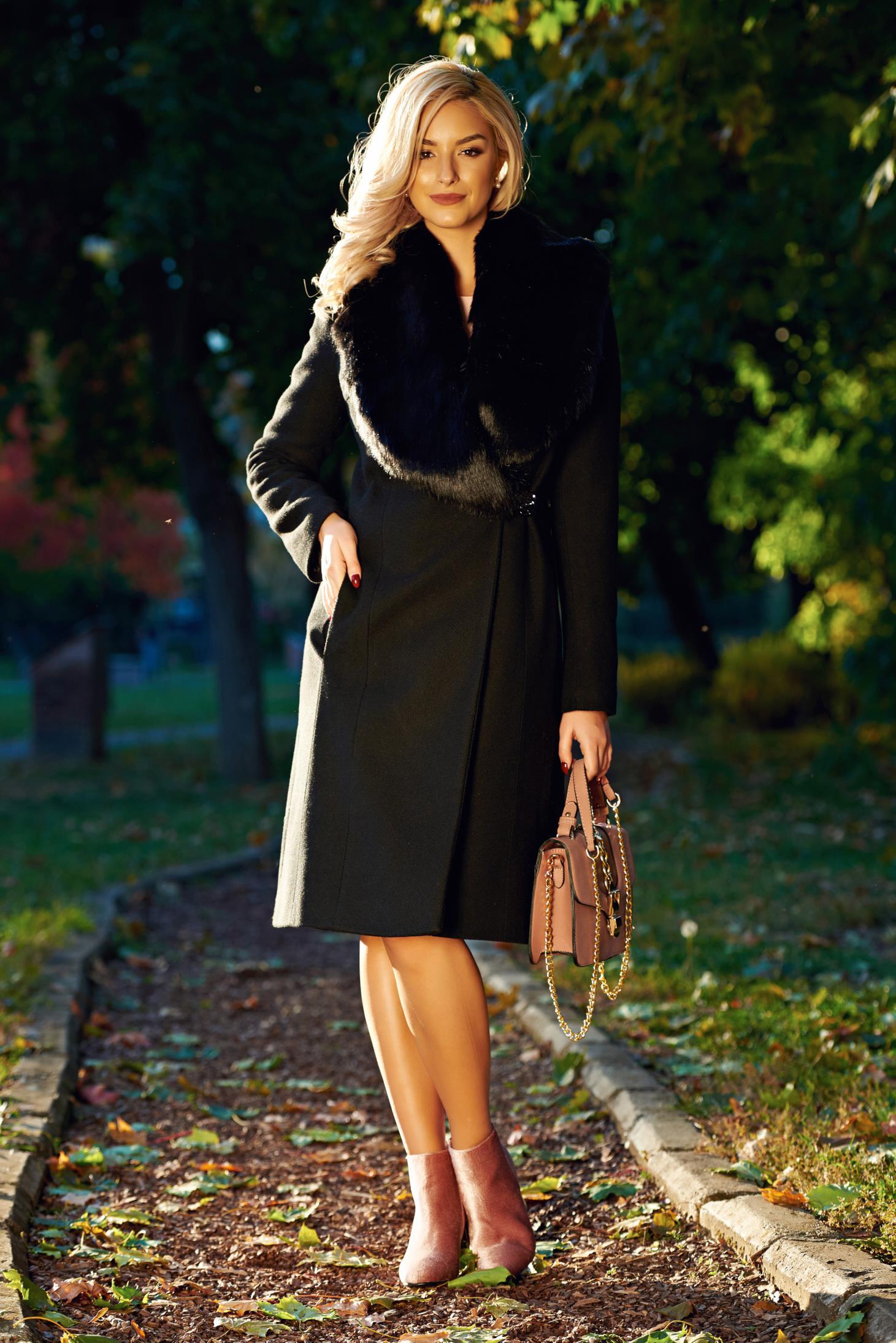 Fekete LaDonna elegáns nagykabát szőrme gallér belső béléssel ae3ac6c2b8