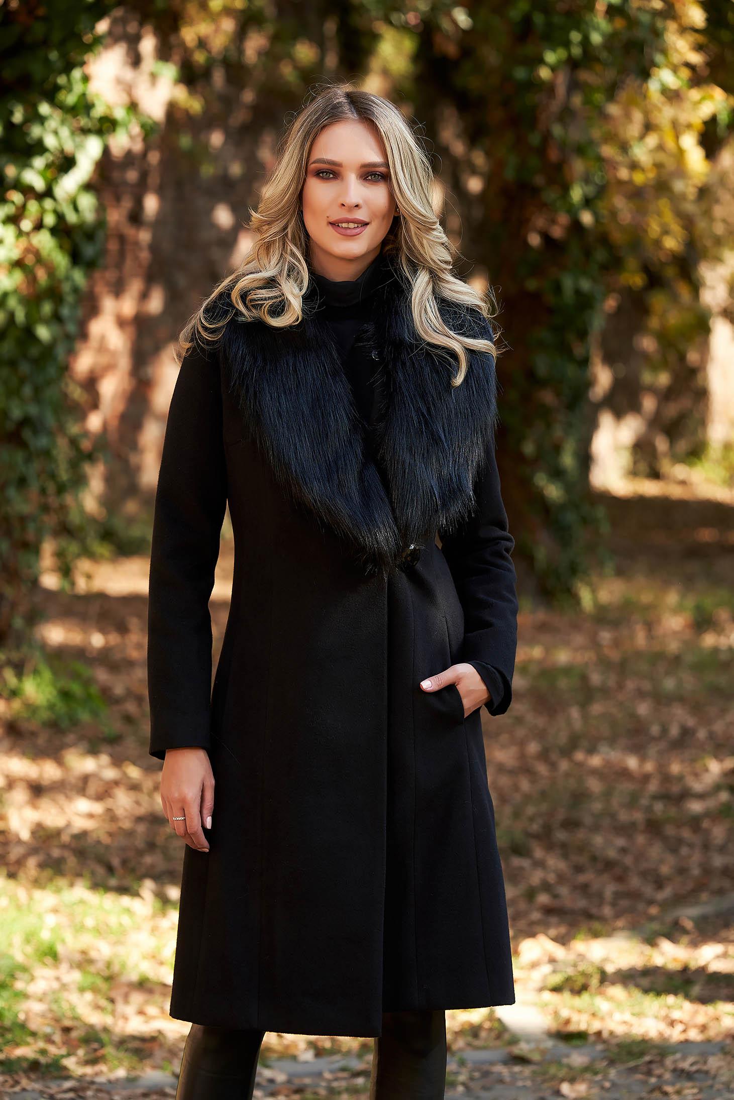 Fekete LaDonna elegáns nagykabát szőrme gallér béléssel