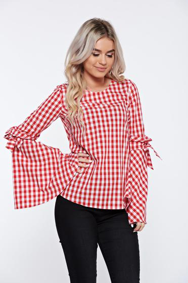 LaDonna flared cotton red women`s blouse with stripes bell sleeves