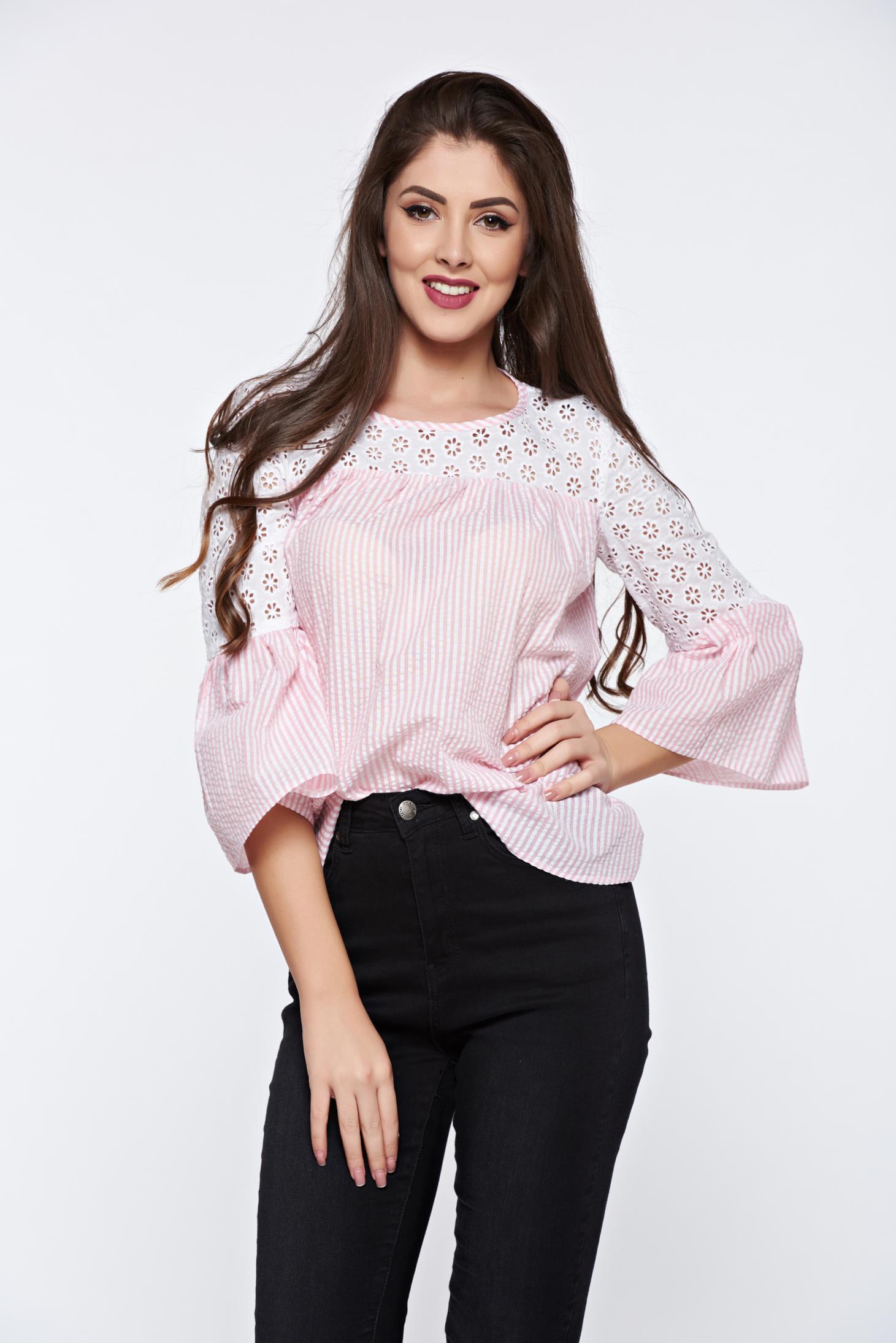 Bluza dama LaDonna roz deschis casual din bumbac cu maneci clopot