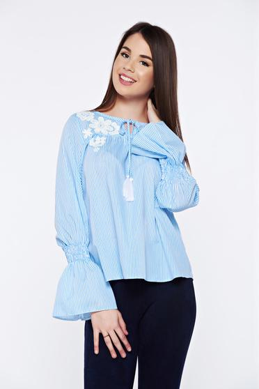 LaDonna casual cotton embroidered lightblue women`s blouse with stripes