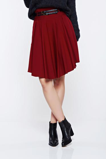 PrettyGirl red casual cloche skirt accessorized with belt
