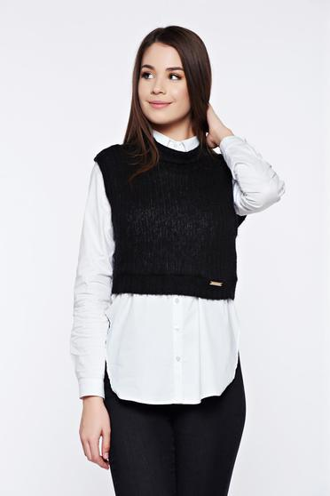 PrettyGirl black casual knitted top shirt