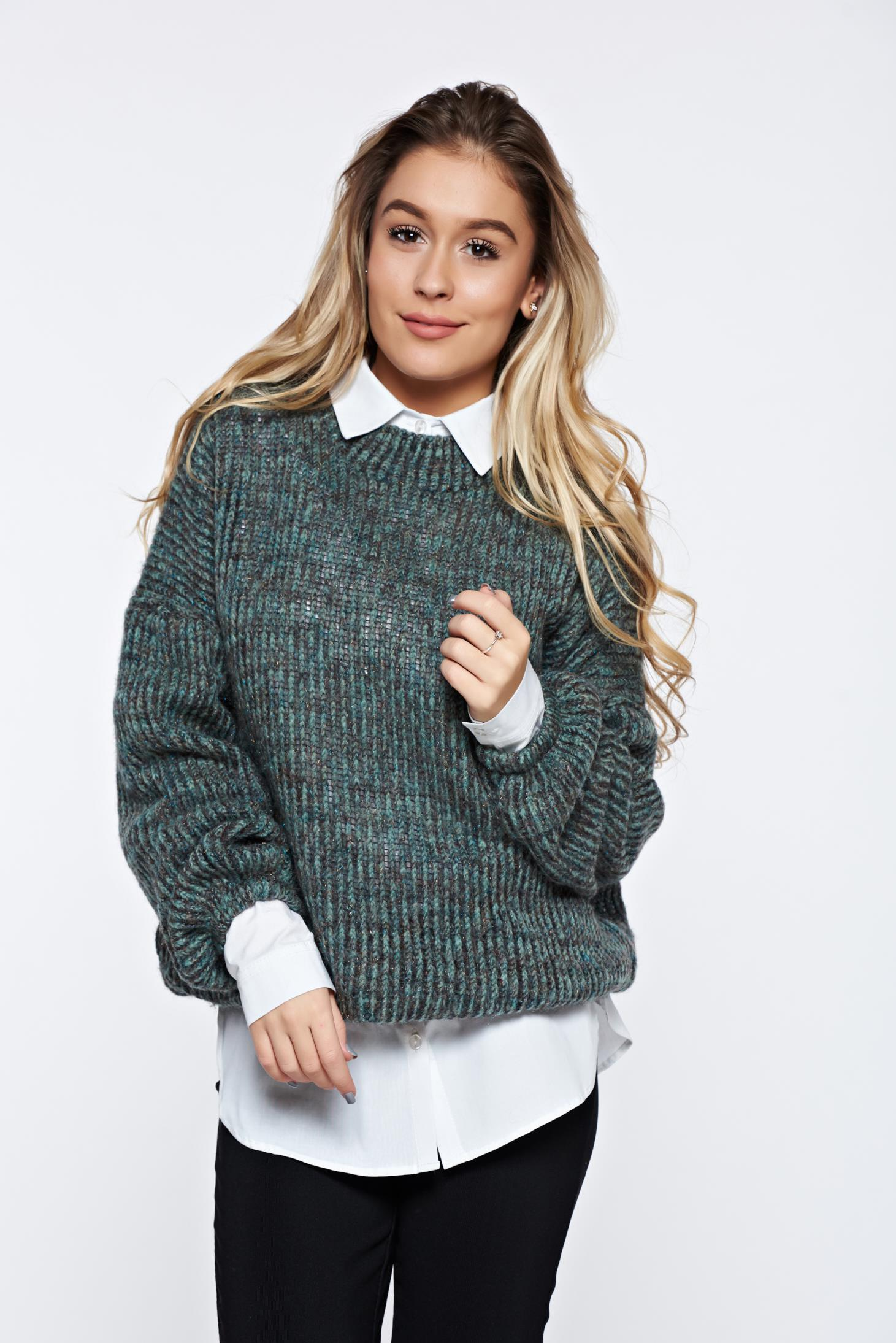 Pulover PrettyGirl verde casual tricotat din material moale