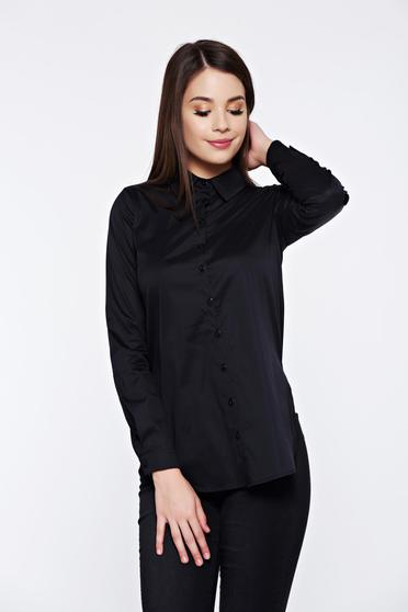 PrettyGirl office cotton black women`s shirt with easy cut
