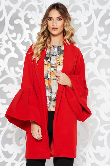 Ana Radu casual elegant with inside lining with bell sleeve red coat from wool