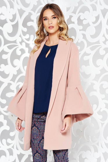 Ana Radu casual elegant with inside lining with bell sleeve rosa coat from wool