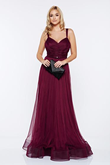 Ana Radu burgundy evening dress with braces accessorized with tied waistband