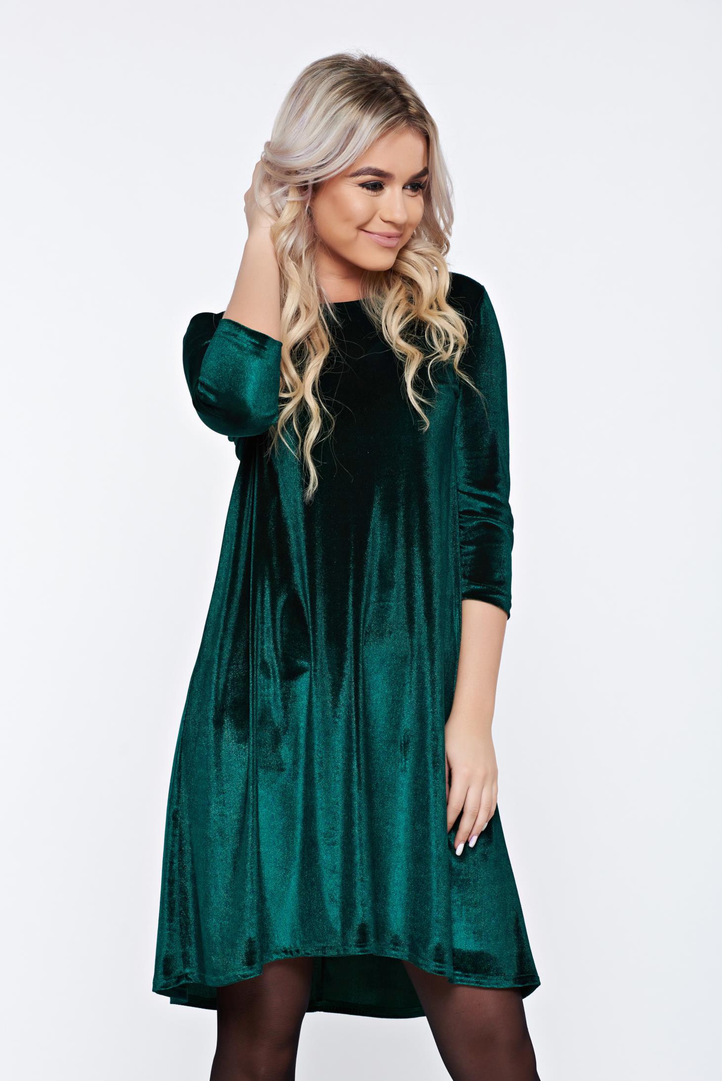 Rochie StarShinerS verde de zi asimetrica din catifea cu croi larg