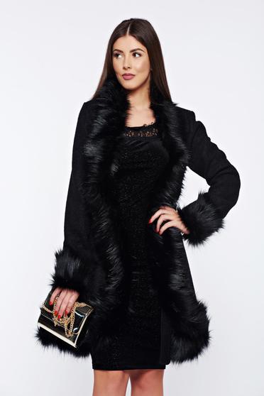 Ana Radu black elegant coat from wool with faux fur details