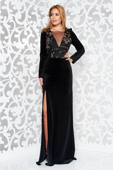Artista black occasional velvet long sleeve dress