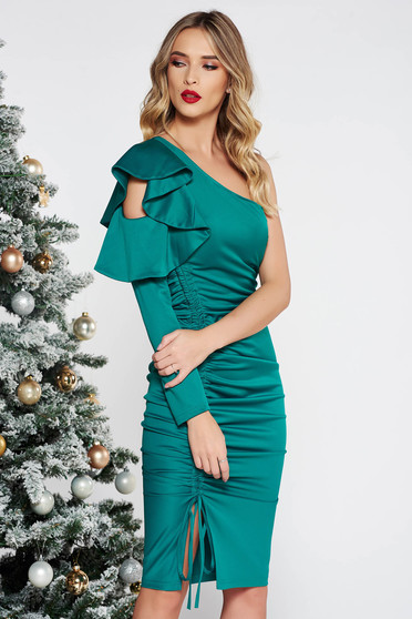 Artista green occasional one shoulder dress with ruffled sleeves