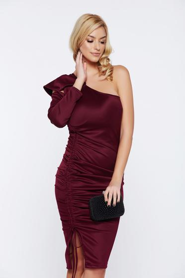 Artista burgundy occasional one shoulder dress with ruffled sleeves