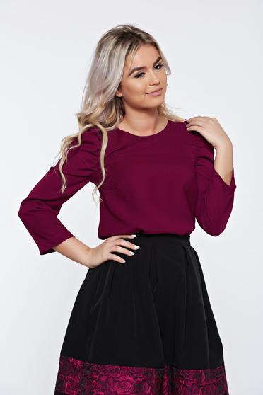 StarShinerS timeless romance purple casual elegant women`s blouse with wrinkled sleeves