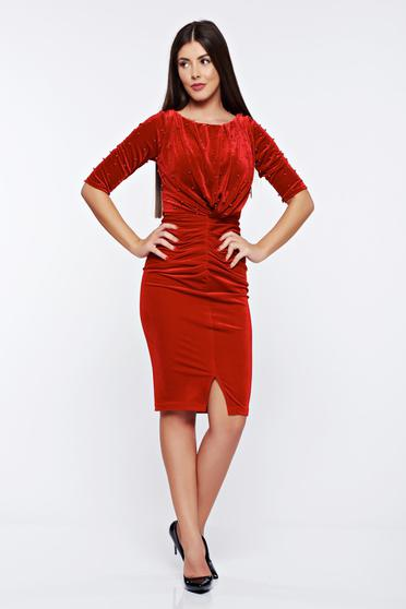 Artista red occasional dress from velvet with small beads embellished details