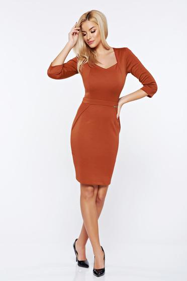 PrettyGirl bricky office pencil dress with v-neckline