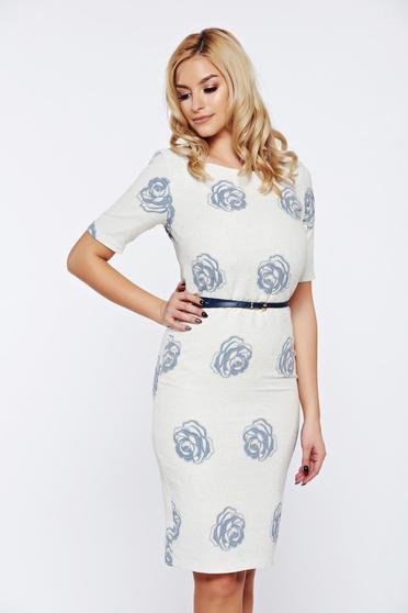 PrettyGirl elegant white daily dress accessorized with belt