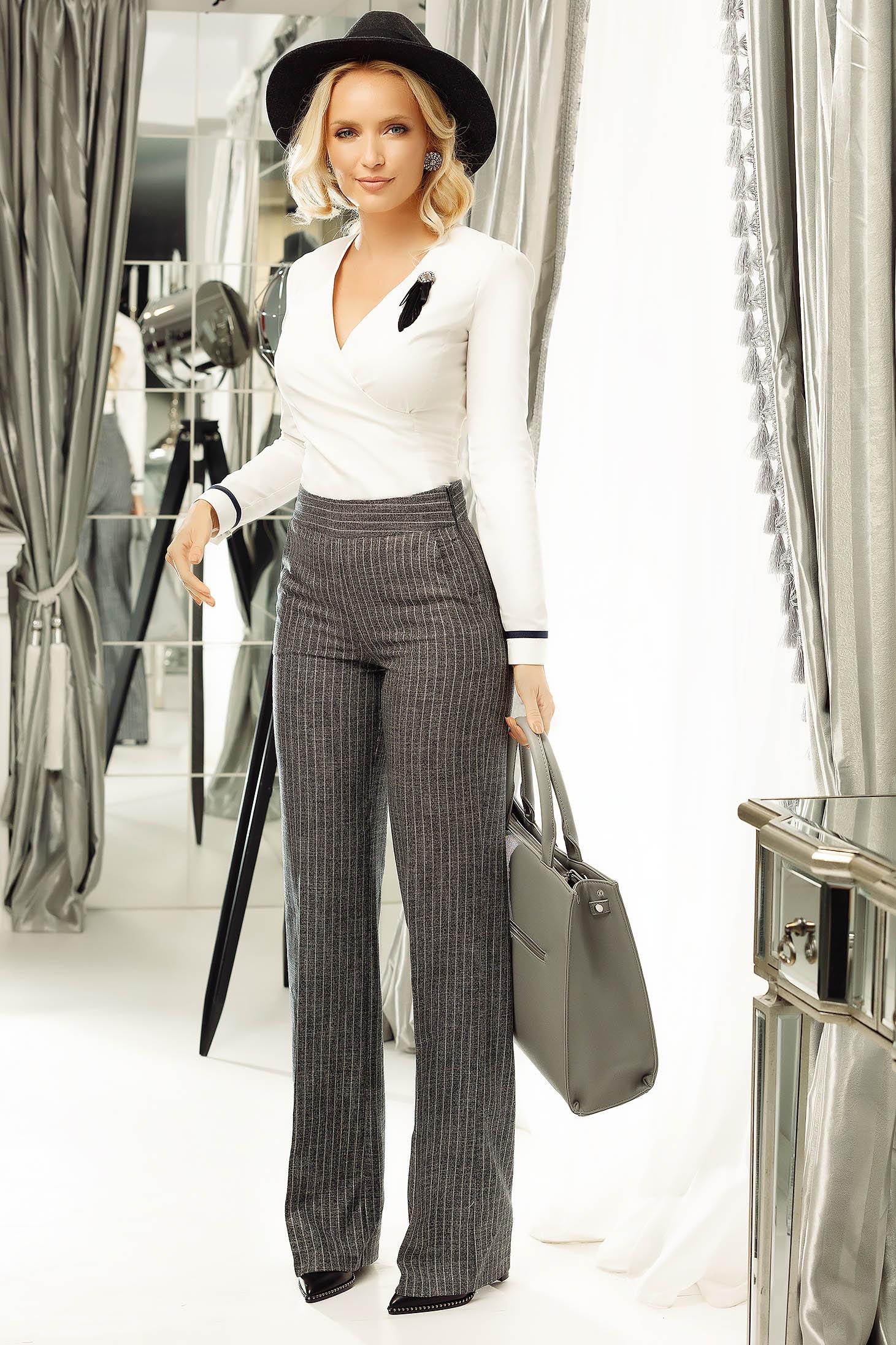 Pantaloni Fofy gri eleganti din stofa cu fir lame si buzunare